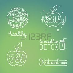 logo linear: Vector healthy food and organic fruits concepts and logo design templates in trendy linear style - icons, signs and emblems related to vegan and raw organic food Illustration