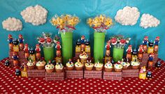 super mario brothers character themed nintendo birthday party dessert table