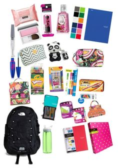 """""""School things"""" by barrelqueen567 ❤ liked on Polyvore featuring Vera Bradley, Avery, The North Face, CamelBak, Paper Mate, Maybelline, Neutrogena and Clinique"""