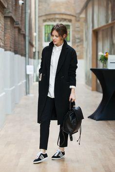 Christine R. - H&M Coat, Topshop Leather Backpack, Adidas Gazelle Sneakers - Adidas Gazelle