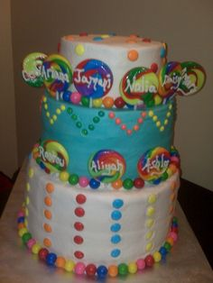 Easy Girls Birthday Cakes | candy theme cake the cake was done for 9 children each birthday childs ...