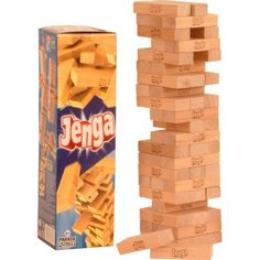 "Jenga is a game of physical and mental skill created by Leslie Scott, and currently marketed by Parker Brothers, a division of Hasbro. During the game, players take turns removing one block at a time from a tower constructed of 54 blocks. Each block removed is then balanced on top of the tower, creating a progressively taller but less stable structure.The name jenga is derived from a Swahili word meaning ""to build."