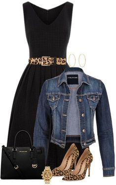 black dress + denim jacket + leopard belt (black heels)