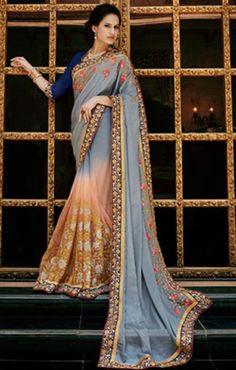 Divine Grey Colored Designer Embroidered Chiffon Saree