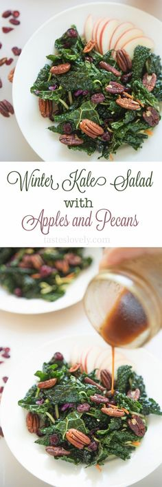 Winter Kale Salad with Apples and Pecans (gluten free, paleo, vegan, whole30)