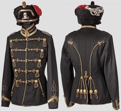 Officers Attila and Pelzmutze for the Hussar Regiment stationed in Braunschweig. Military Dresses, Military Style Jackets, Mexican Army, Army Gears, Empire, Uniform Dress, German Uniforms, Arm Armor, Napoleonic Wars
