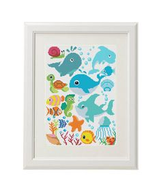 Fish  Cross Stitch pattern Whale Shark Fish Turtle Decoration for baby of children clothes  Counted Cross Stitch Pattern Undersea world