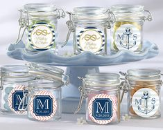 Fill these glass jar favors with everything from jelly beans to bubble solution with a wand. These vintage-styled jars would blend in beautifully with any wedding theme, but they would make an especially lovely favor for a rustic-themed wedding. You can customize these glass jar favors with s sweet nautical pattern that you select from our available choices.