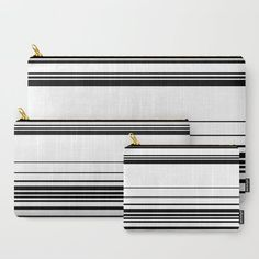 Complex Stripes - Black on White Carry-All Pouch by laec | Society6