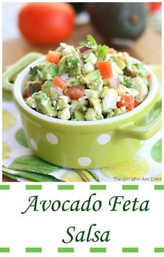 This Avocado Feta Salsa is a little twist on your average salsa. It's guacamole meets salsa with some salty feta tossed in. It's so addicting I literally can't stop eating it! the-girl-who-ate-everything.com