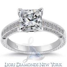 2.95 Carat E-SI1 Certified Princess Cut Diamond Engagement Ring 18k White Gold - Liori Exclusive Engagement Rings - Engagement - Lioridiamonds.com