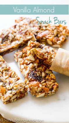 Healthy, wholesome, simple Vanilla Almond Snack Bars (GF) like copycat KIND bars Breakfast Recipes, Snack Recipes, Dessert Recipes, Cooking Recipes, Desserts, Scones, Sallys Baking Addiction, Tasty, Yummy Food
