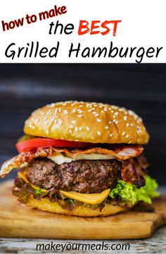 How to make the BEST Homemade Grilled Hamburgers. Find out the secrets to making the BEST homemade grilled hamburgers that turn out nice and juicy, flavorful and perfectly cooked each and every time. The Best Burger, Best Burger Recipe, Amazing Burger, Easy Burger Recipes, Juicy Beef Burger Recipe, Simple Burger Recipe, Tasty Burger, Burger Ideas, Healthy Recipes