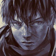 Doutanuki Masakuni from the online game Touken Ranbu, presented in a sombre fashion. Art by toumeisenni.