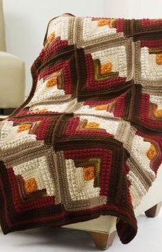 LOVE!!! Log Cabin Comfort Throw Crochet Pattern - Free pattern!