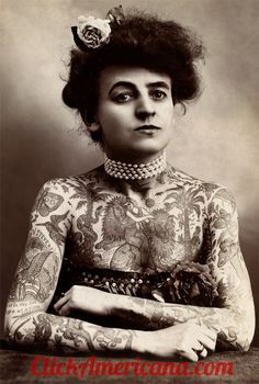 Gus Wagner is considered one of the first tattoo professionals, and sharing space with him on the marquee was his tattooed wife, Maud, who was at least as much of an attraction,