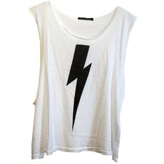 Wildfox Lightning Cut Off Tank in White ($64) ❤ liked on Polyvore featuring tops, shirts, tank tops, tanks, white, lightning bolt shirt, white singlet, cutoff shirt, screen print shirts and white top