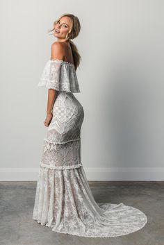 "Lace Wedding Dresses Grace Loves Lace 2017 ""Elixir"" bridal collection EMANUELA - Seducing and effortlessly sexy, the Emanuela gown was inspired by the natural beauty with confidence and soul. Gorgeous Wedding Dress, Boho Wedding Dress, Wedding Attire, Boho Dress, Bridal Dresses, Off Shoulder Wedding Dress Bohemian, Lace Wedding, Wedding Beach, Wedding Rustic"