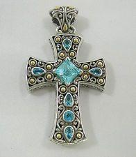 Samuel B Sterling Silver & 18K Large Blue Topaz Cross Pendant