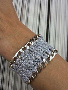 Bracciale con catena rivestita in lurex argento e grigio perla