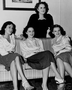 The Gumm Sisters with their mother Ethel.  Mary Jane/Suzanne Kahn (1915-1964),  Virginia (1917-1977) and Frances/Judy Garland (1922-1969)