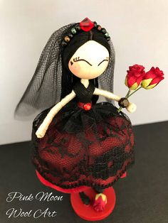 Gothic flower petal Doll, Scarlett the Vampire Bride Girl Doll, Birthday Cake Topper figurine. A fabulous Vampire Bride with a red flower petal and lace dress. Scarlett has a beaded headdress with a beautiful Swarovski crystal at the top which finishes off her tulle veil. She comes