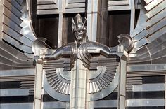 "Art Deco architecture; ""The Spirit of Light"" on the National Grid headquarters in Syracuse."