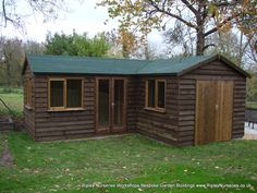 heavy duty workshop 22x20 l shaped stained featheredge cladding french doors