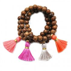 Medium Wood Tassel Beaded Bracelet | Waiting On Martha