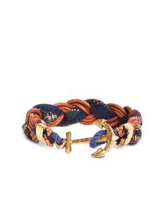 "<a href=""#pdplearnmore"" class=""lm""> Kiel James Patrick </a>for Brooks Brothers<br> Bracelet, made from leather and wool. Solid brass hardware. Anchor clasp. Made in the USA."