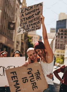 Happy young activists protesting by Jacob Lund Photography on Protest Art, Protest Signs, Activist Art, Powerful Pictures, Feminist Quotes, Power To The People, After Life, Patriarchy, Photojournalism