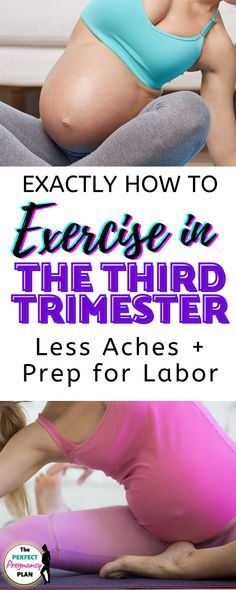 How to exercise safely in the the 3rd trimester of pregnancy. Prenatal exercise is vital to optimal fetal growth and development and can help you have a bump only pregnancy. But doing a workout in the third trimester is a whole different ballgame. Learn how to modify exercises and what is safe and what isn't from a personal fitness trainer and mom of 3! #prenatalworkout #prenatalexercise #pregnancyworkout #pregnancyexercise