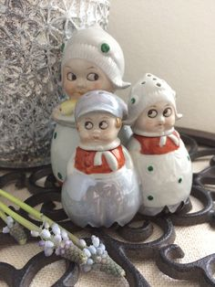 Germany condiment set-Mustard,salt and pepper shakers.Mom,boy and girl.