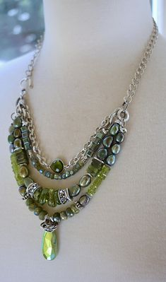 necklace vesuvianite necklace peridot necklace pearl