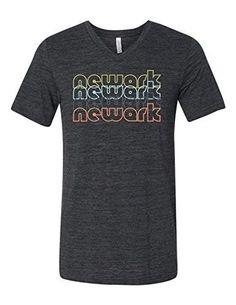 Newark New Jersey Retro 3005 Premium V-Neck T-shirt Slogan Humorous T Dark Gray Heather Large, Men's, Grey