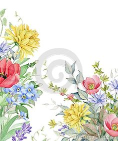Hand drawn watercolor image of garden flowers