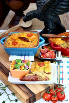 Samp, Chorizo & Cheddar Bake, Full Lay-out – Front view