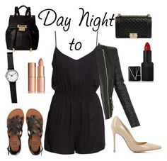 """""""Contest Entry: Day to Night"""" by madison-rspivey ❤ liked on Polyvore featuring H&M, Urban Outfitters, Billabong, Charlotte Tilbury, Ivanka Trump, Gianvito Rossi, NARS Cosmetics, Balmain, DayToNight and romper"""