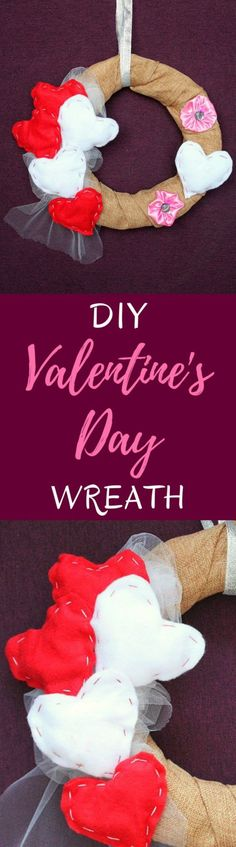 VALENTINE'S DAY WREATH - Looking for easy, cute and inexpensive Valentine decorations for the home? This valentine's day wreath is perfect to make your home a little more festive.  #valentinesday #valentine #valentinesdaygift #valentinesgift #valentinesdaycrafts #valentinedecor #homedecor #home #homedecorideas #gifts #wreathmaking #valentinesdaydecor #diywreaths