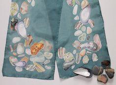 Hand Painted Silk Scarf Jasper Beach Maine  by NatureSeenSilks, $60.00