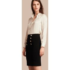Burberry Stretch Technical Cotton Military Skirt (€865) ❤ liked on Polyvore featuring skirts, panel pencil skirt, embellished skirt, burberry skirt, cotton skirts and stretchy pencil skirt