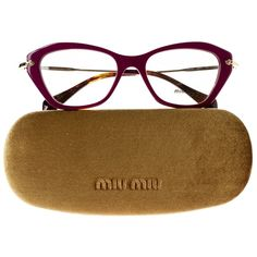 Pre-owned Miu Miu Eyeglasses (2.427.595 IDR) ❤ liked on Polyvore featuring accessories, eyewear, eyeglasses, violet, gold eyeglasses, miu miu glasses, miu miu eye glasses, miu miu and gold glasses