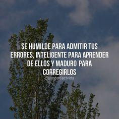 Se humilde para admitir tus errores, inteligente para aprender de ellos y maduro para corregirlos.