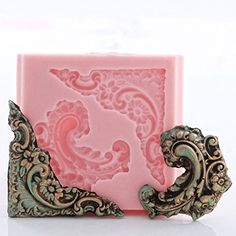 Corner Victorian Scroll Work Silicone Mold Food Safe Fondant Chocolate Candy Resin Polymer Clay Craft Jewelry Food Mold * Learn more by visiting the image link.