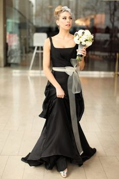 Black and Cream Wedding Party Dresses