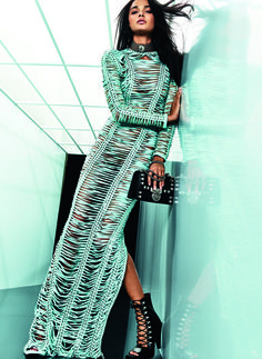 Resort18 #style review: Balmain's Vive le France moment is softer collection that's one step away from unicorn insta-magic | Pastel green macrame maxi dress | The Luxe Lookbook
