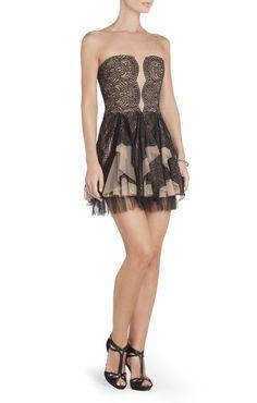 Norelle Strapless Lace Evening Dress | BCBG