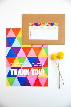 Thank you cards for baby shower | Colorful rainbow geometric baby shower | hellobardot.com