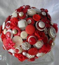 Red & White Button Bouquet