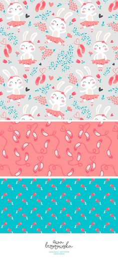 Bunny Ballerina - surface pattern design mini-collection for girls.